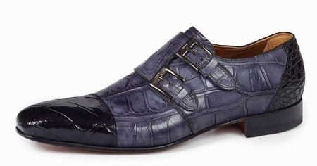 Mauri Italy Mens Black Gray Alligator Italian Dress Shoes Traiano 1152 - click to enlarge