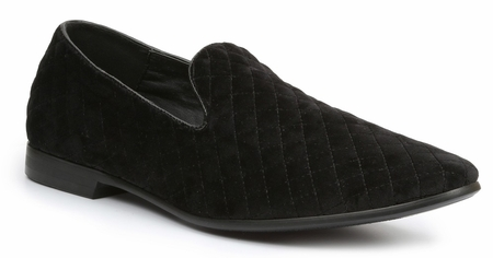 Giorgio Brutini Smoking Slipper Black Quilt Velvet Shoe 176271 - click to enlarge