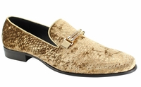 Mens Gold Velvet Trendy Designer Prom Loafers AM 6767