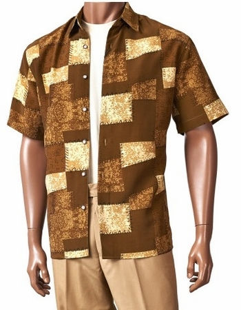 Giorgio Inserch Mens Brown Short Sleeve Pattern Shirt 87627-2 IS - click to enlarge