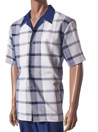 Giorgio Inserti Inserch Mens Blue Plaid Casual Outfit 732 - click to enlarge