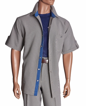 Giorgio Inserti Inserch Mens Off White Houndstooth Casual Outfit 737 - click to enlarge