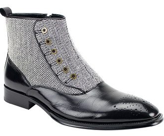 Giovanni Black Tweed Spats Designer Boot Edison