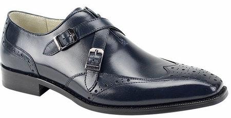 Giovanni Double Buckle Navy Designer Dress Shoes Emilio - click to enlarge