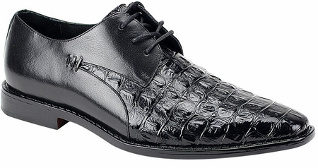 Giovanni Mens Black Lace Up Crocodile Print Dress Shoes 2525 - click to enlarge