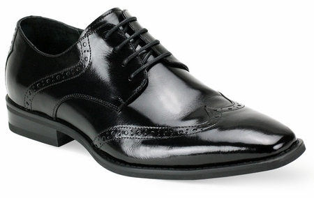 Giovanni Mens Black Wingtip Leather Dress Shoes Bentley - click to enlarge