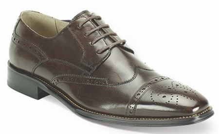 Giovanni Mens Chocolate Polished Leather Wing Cap Dress Shoes 6502 - click to enlarge