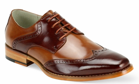 Giovanni Mens Cognac Tan Wingtip Leather Dress Shoes Bentley - click to enlarge