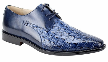 Giovanni Mens Crocodile Print Blue Lace Up Church Shoes 2525 - click to enlarge