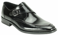 Giovanni Mens Shiny Leather Black Monk Strap Dress Shoes Amato