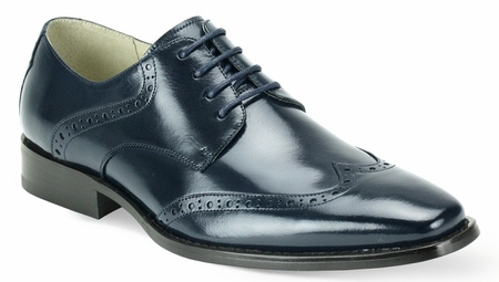 Giovanni Mens Navy Wingtip Leather Dress Shoes Bentley - click to enlarge