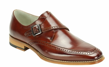 Giovanni Mens Shiny Cognac Monk Strap Leather Dress Shoes Amato - click to enlarge