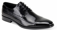 Giovanni Mens Black Perforated Leather CapToe Dress Shoes Diego