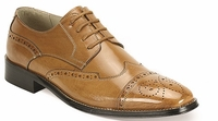 Giovanni Mens Tan Polished Leather Tan Wing Cap Dress Shoes 6502