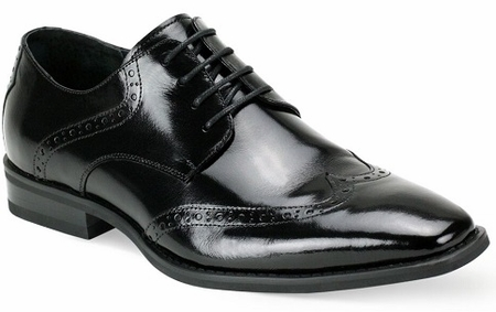 Giovanni Mens Wingtip Black Leather Dress Shoes Bentley - click to enlarge