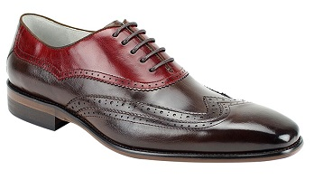 Giovanni Unique Designer Wingtips Chocolate Brown/Red Dress Shoes Cyprus