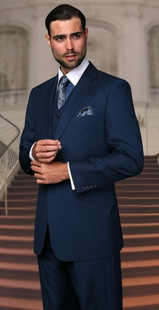 Men's Wool Suits Indigo Blue Two Button Front by Alberto 2BVP-1 - click to enlarge