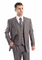 Grey 3 Piece Suit Mens Solid Color Classic Fit Tazio M302-14