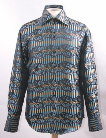 High Collar Fancy Club Shirts for Men Multi Shiny Paisley FSS1422 - click to enlarge