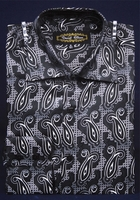 High Collar Fashion Shirts Mens Black Small Paisley DE FSS1409