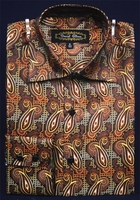 High Collar Fashion Shirts Mens Brown Small Paisley DE FSS1409