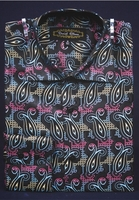 High Collar Fashion Shirts Mens Multi Small Paisley DE FSS1409