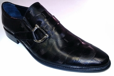 High Fashion Leather Shoes by Zota Black Buckle Loafer D5-8 - click to enlarge