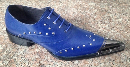 Zota Mens Blue Leather Metal Pointy Toe Shoes G908-34 - click to enlarge