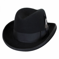 Homburg Hat Black 100% Wool Felt Capas