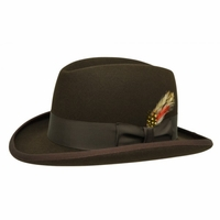 Homburg Hat Brown 100% Wool Felt Capas