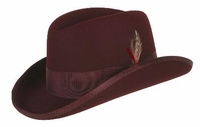 Homburg Hat Burgundy Wine 100% Wool Felt Capas