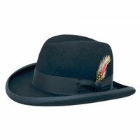 Homburg Hat Dark Blue Navy 100% Wool Felt Capas