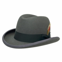 Homburg Hat Steel Gray 100% Wool Felt Capas