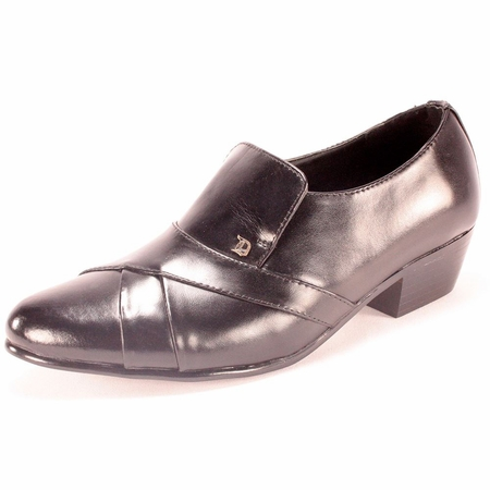 Ditalo Mens Black Pleated Leather Cuban Heel Slip On Shoes 6263 - click to enlarge