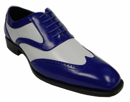 Bolano Mens Royal White Two Tone Wingtip Dress Shoes Phil - click to enlarge