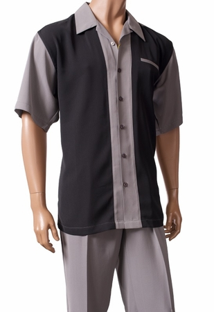 Inserch Men's Black Gray Casual Walking Suit 80756-04 - click to enlarge