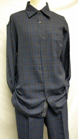 Inserch Men's Blue Plaid Casual Walking Outfit 134 - click to enlarge