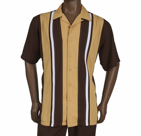 Inserch Men's Brown Panel Casual Walking Outfit 80356-25 - click to enlarge