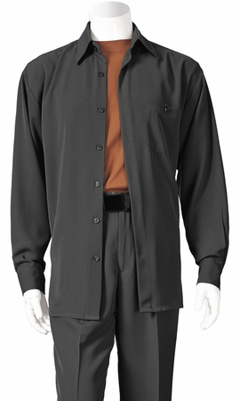 Inserch Mens Black Long Sleeve Microfiber Walking Suits 13A56 - click to enlarge