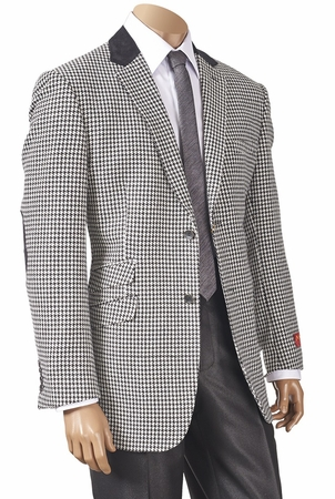 Inserch Mens Black White Hounds Tooth Sport Jacket 504B - click to enlarge
