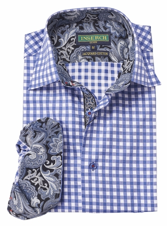 Inserch Mens Blue Gingham Plaid Cotton Shirt with Trim 2584-14 - click to enlarge