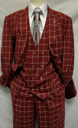 EJ Samuel  Wine Square Pattern 1920s Fashion Suit M2644 IS - click to enlarge