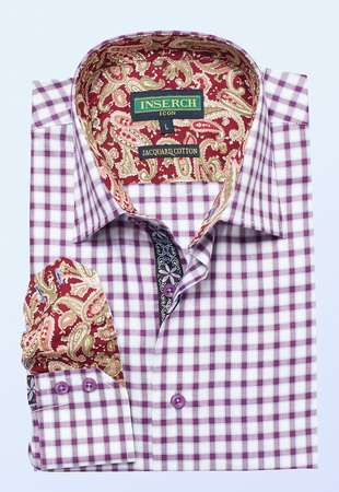 Inserch Mens Burgundy Small Check Cotton Shirt with Trim 2579-31 - click to enlarge