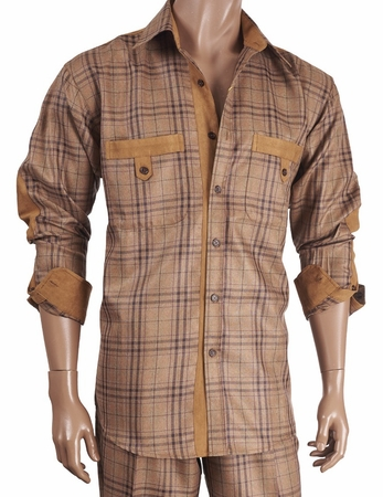Inserch Mens Caramel Suede Trimmed Plaid Walking Suit 133-05 IS - click to enlarge