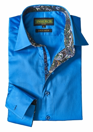 Inserch Mens China Blue Cotton Shirt with Trim 271-120 - click to enlarge