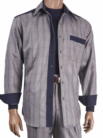 Inserch Mens Gray Suede Trimmed Plaid Walking Suit 121-33 - click to enlarge