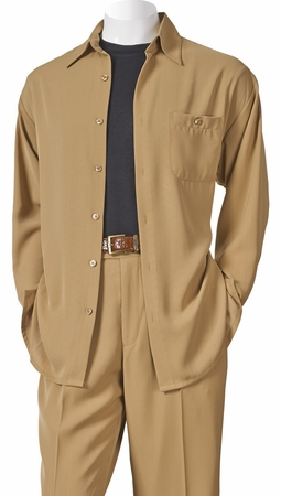 Inserch Mens Khaki Long Sleeve Microfiber Walking Suits 13A56 - click to enlarge