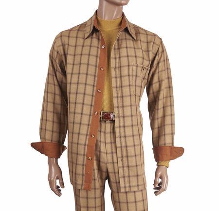 Inserch Men's Beige Plaid Casual Walking Outfit 134 - click to enlarge