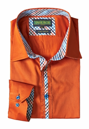 Inserch Mens Orange Cotton Shirt with Trim 270-29 - click to enlarge