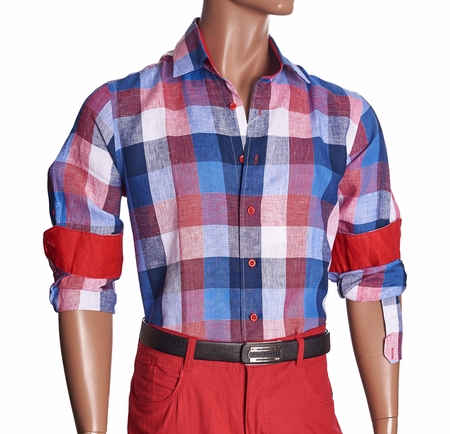 Inserch Mens Red Check Plaid Linen Shirt 2407-30 - click to enlarge